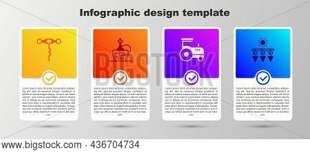 Set Wine Corkscrew, Italian Fiasco Bottle, Tractor And Drying Grapes. Business Infographic Template.