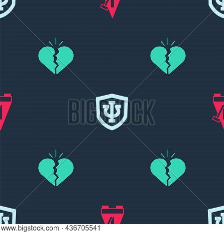 Set Metronome With Pendulum, Psychology, Psi And Broken Heart Or Divorce On Seamless Pattern. Vector