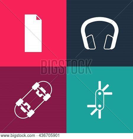 Set Pop Art Tool Allen Keys, Skateboard, Headphones And Grip Tape Skateboard Icon. Vector