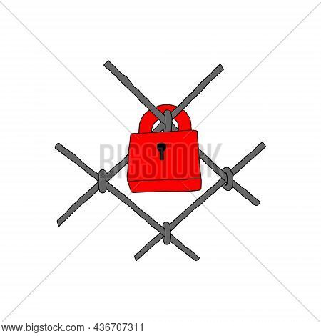 Hand-drawn Black Vector Illustration Of A Red Metallic Lock Located On A Gray Metal Grille Isolated