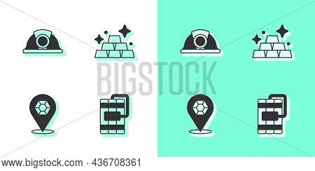 Set Dynamite, Miner Helmet, Gem Stone And Gold Bars Icon. Vector