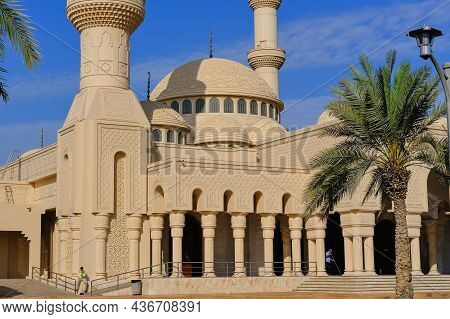 Ornate Domes And Minarets Of Muslim Islamic Mosque On Background Of Blue Sky. Minaret Towers And Roo