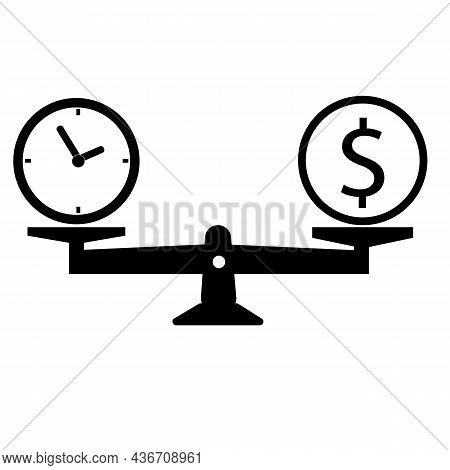 Time Is Money On Scales Icon. Scale Balance Weighing Money And Time Sign. Flat Style.