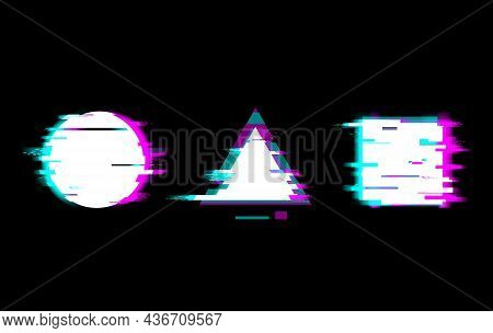 Distorted Glitch Style Buttons Vector Illustration Set. Play, Pause, Stop, Warning Symbols With Circ