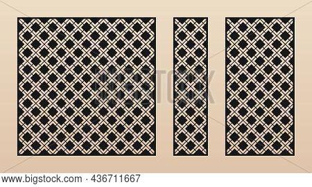 Laser Cut Patterns. Abstract Geometric Pattern With Square Grid, Net, Mesh, Lattice, Diamond Shapes.