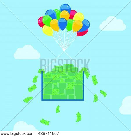 Pile Of Money Rising To The Skies With Balloons. Conceptual.