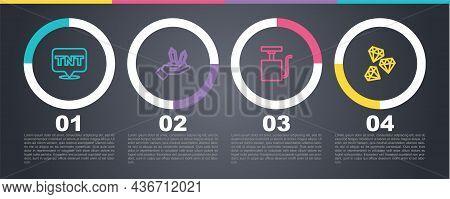 Set Line Dynamite, Gem Stone, Handle Detonator And . Business Infographic Template. Vector