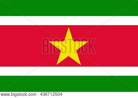The Flag Of The Suriname Is A Small Country On The Of Northeast Coast Of South America