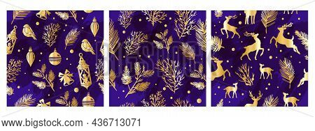 Christmas Gold Seamless Pattern Set, Vector Winter X-mas Holiday Wrapping Paper Texture Collection.