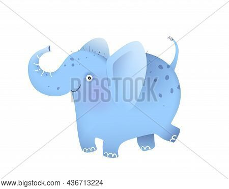Elephant Funny And Cute Animal For Kids And Children, Amusing Design. Happy Elephant Isolated Clipar