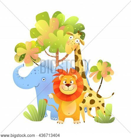 Animals Safari Amusing Illustration For Children. Kids Characters Cartoon In Africa, Lion Elephant A