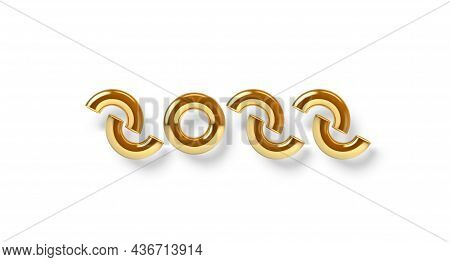 2022 New Year Sign With Abstract Golden Letters. 3d Illustration