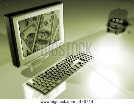 Computer With Money Concept