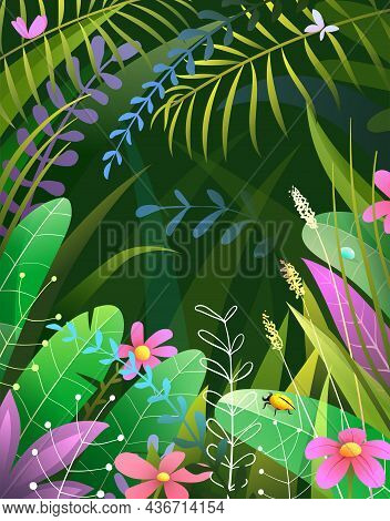 Tropical Nature Paradise On Black Background. Peaceful And Serene Dense Jungle With Palm Leaves And