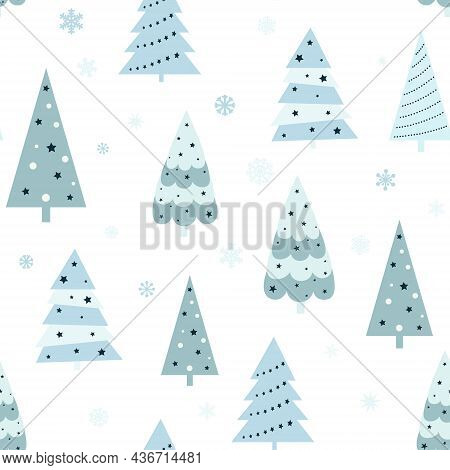Christmas Seamless Pattern With Christmas Tree And Snowflakes. Can Be Used For Fabric, Wrapping Pape