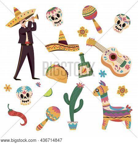 Cartoon Vector Illustration Set Of Traditional Mexican Symbols For Various Designs. Taco, Sombrero,