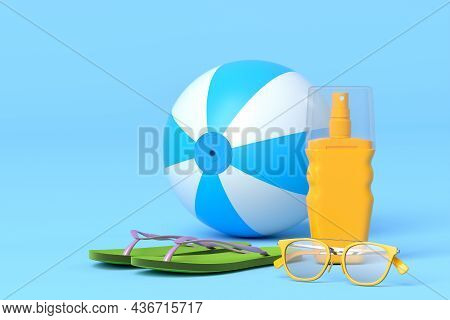 Set Of Beach Accessories Like Flip Flops, Sunglasses, Sunscreen And Ball On Blue