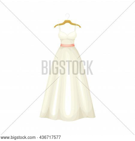 White Long Wedding Dress With Waist Belt On Hanger Closeup Vector Illustration
