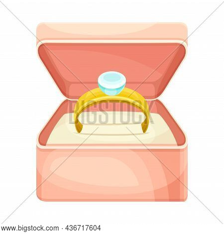 Wedding Golden Ring With Gem Rested In Pink Box Closeup Vector Illustration