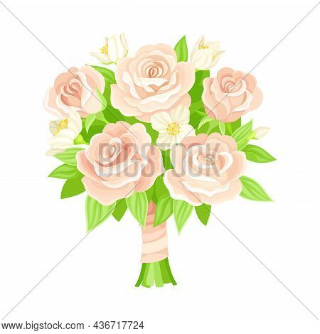 Wedding Bunch Of Flowers Tied With Silk Ribbon Closeup Vector Illustration