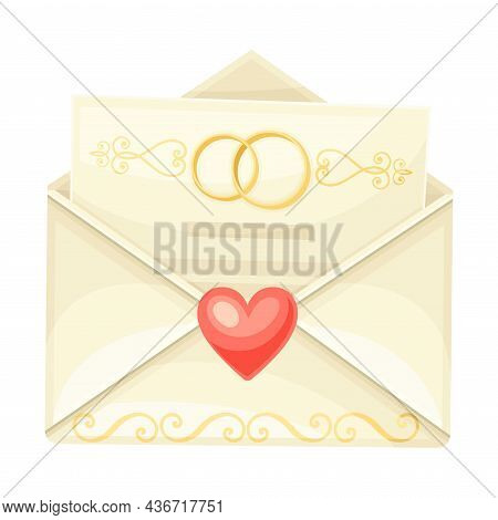 Wedding Invitation Or Greeting Card In Open Envelope Closeup Vector Illustration
