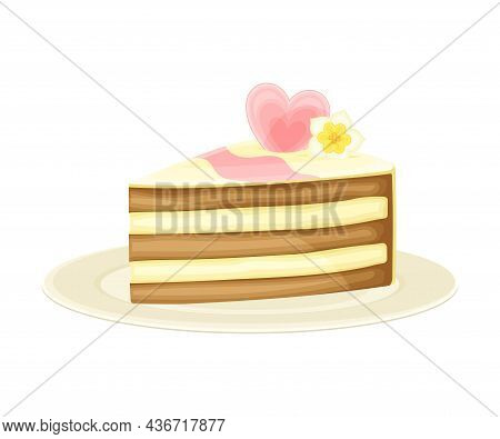 Piece Of Cut Wedding Cake And Sweet Pastry With Heart Decor Rested On Plate Closeup Vector Illustrat
