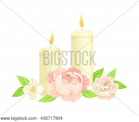 Burning Candle And Showy Flower As Wedding Composition Closeup Vector Illustration