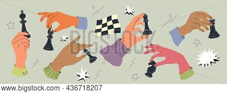Hands With Chess Pieces Vector Set Isolated On Grey Background. Retro-style Illustration Of Multicol