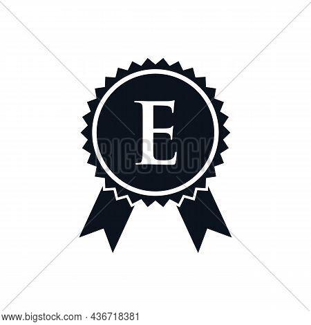 Winner Award Certified Medal Badge On E Logo Template. Best Seller Badge Sign Logo Design On Letter