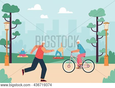 Old Athlete Men And Women Running In City Park, Riding Bicycle, Doing Active Exercises. Active Grand