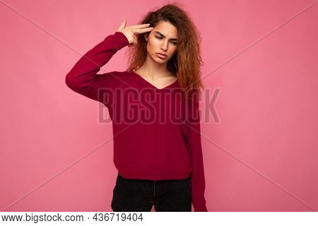 Portrait Of Young Emotional Tired Beautiful Brunette Curly Woman With Sincere Emotions Wearing Trend
