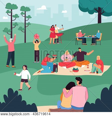 Happy People Eating, Drinking Together, Communicating Under Trees, Playing With Children. Cartoon Fa
