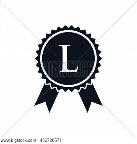 Winner Award Certified Medal Badge On L Logo Template. Best Seller Badge Sign Logo Design On Letter
