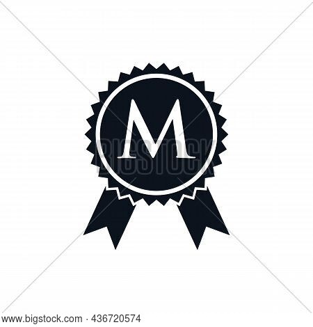 Winner Award Certified Medal Badge On M Logo Template. Best Seller Badge Sign Logo Design On Letter