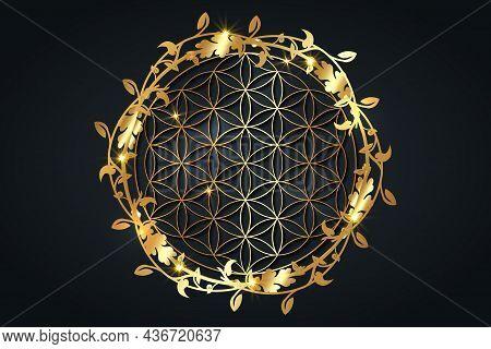 Flower Of Life, Gold Spiritual Mandala, Sacred Geometry. Bright Golden Symbol Of Harmony And Balance