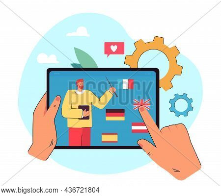 Hands Holding Tablet And Choosing Language. Learning Foreign Languages Flat Vector Illustration. Onl