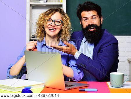 Smiling Teachers At Work. World Teachers Day. School Job. High School Concept. Student In College.