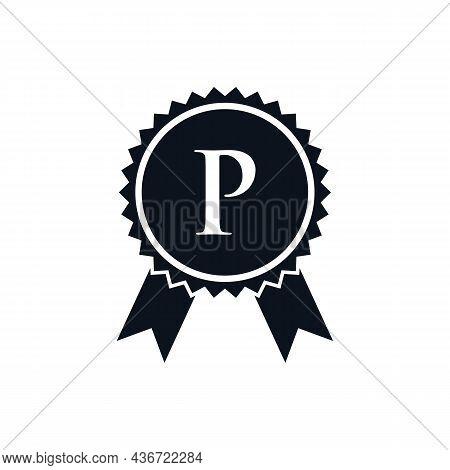 Winner Award Certified Medal Badge On P Logo Template. Best Seller Badge Sign Logo Design On Letter