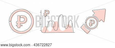 Icon Of The Russian Ruble. Different Financial Currency Icons. Financial Chart With Currency Icon. V