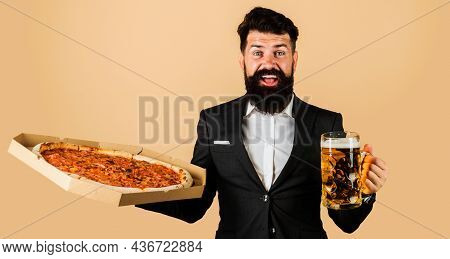Restaurant Or Pizzeria. Smiling Man With Pizza And Beer In Hands. Italian Food. Pizza Delivery.