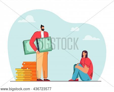 Rich Guy And Poor Girl Vector Illustration. Young Businessman With Cash And Coins And Poor Woman In