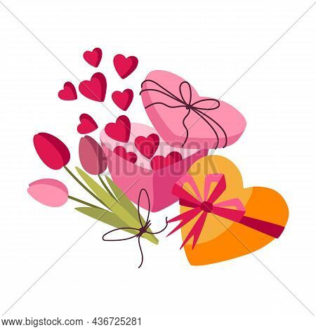 Happy Valentine Day Illustration. Holiday Background With Romantic And Love Symbols.