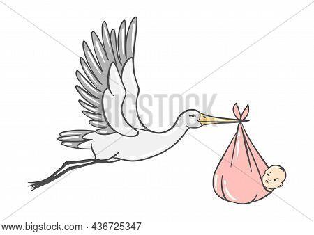 Illustration Of Stork Carries Newborn Baby Girl. Happy Birthday Image. Holiday Baby Shower Simbol.