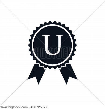 Winner Award Certified Medal Badge On U Logo Template. Best Seller Badge Sign Logo Design On Letter