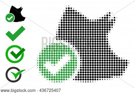 Dot Halftone Valid Pork Icon, And Original Icons. Vector Halftone Composition Of Valid Pork Icon Org
