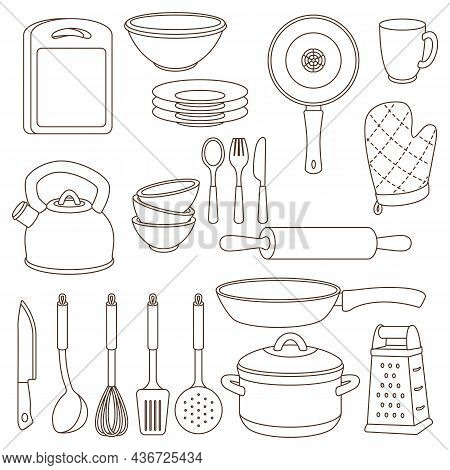 Set Of Kitchen Utensils. Cooking Tools For Home And Restaurant.