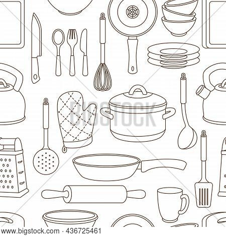 Seamless Pattern With Kitchen Utensils. Cooking Tools For Home And Restaurant.