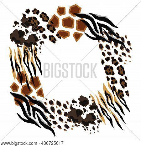 Frame With Decorative Animal Print. African Savannah Fauna Stylized Ornament, Fur Texture.