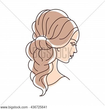 Illustration Of Beautiful Young Girl With Hairdo On Head. Image For Hairdressing And Wedding Salons.