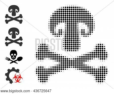 Dotted Halftone Toxic Mushroom Icon, And Source Icons. Vector Halftone Collage Of Toxic Mushroom Ico